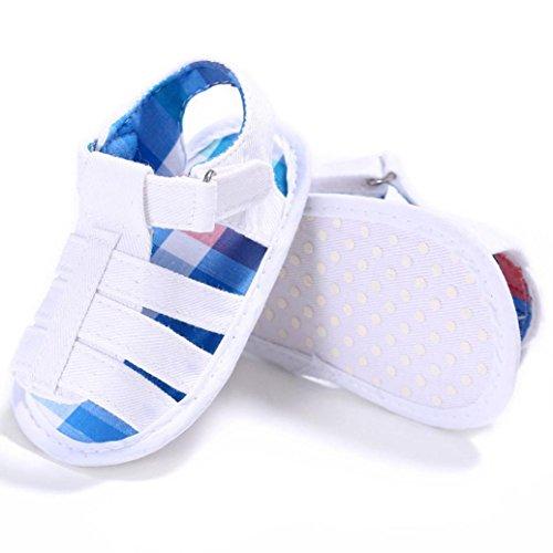 bescita Baby Kleinkind Kinder Mädchen Jungen Weichen Sohle Krippe Neugeborenen Sandalen Schuhe (3, Weiß)