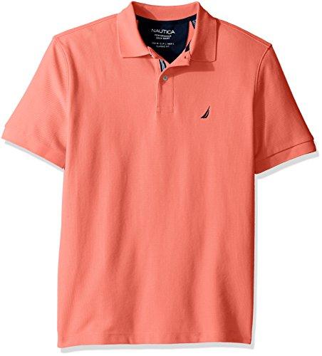 Nautica Men's Classic Short Sleeve Solid Polo Shirt, Pale