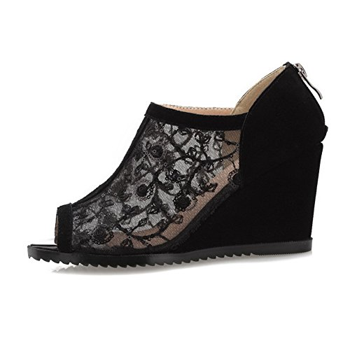 AmoonyFashion Womens Zipper High Heels Cow Leather Solid Peep Toe Sandals Black Nz23Ak