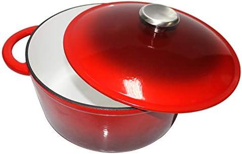 MikeGarden 5.2 Quart Cast Iron Round Dutch Oven Red