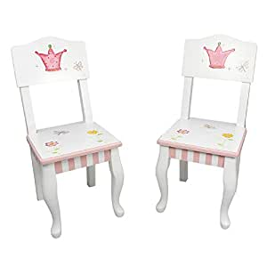 Fantasy Fields - Princess & Frog Thematic Kids Wooden 2 Chairs Set  Imagination Inspiring Hand Crafted & Hand Painted Details   Non-Toxic, Lead Free Water-based Paint