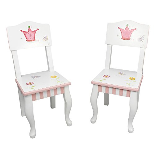 (Fantasy Fields - Princess & Frog Thematic Kids Wooden 2 Chairs Set  Imagination Inspiring Hand Crafted & Hand Painted Details   Non-Toxic, Lead Free Water-based Paint)