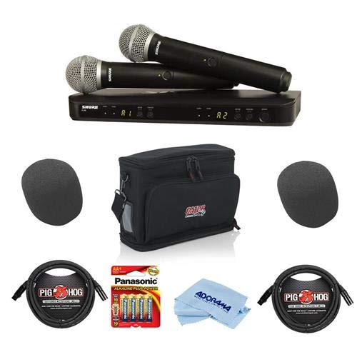 (Shure BLX288/PG58 Dual Channel Handheld Wireless System, Includes BLX88 Dual-channel Receiver, 2x BLX2 Handheld Transmitter with PG58 Microphone, H9: 512.125-541.800MHz - With Accessory Bundle)