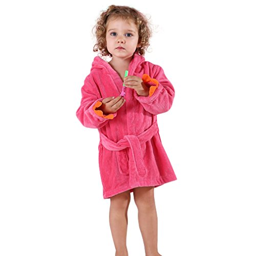 Price comparison product image MICHLEY Girls Boys Robe Cotton Towel Kids Animal Dinosaur Style Hooded Bathrobe (Rose 1-3T)