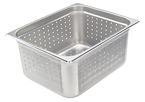 Winco SPJH-206PF, 6-Inch Half-Size Perforated Steam Pan, 22 Gauge Stainless Steel Sheet Pan, Serving Hotel Pan, NSF