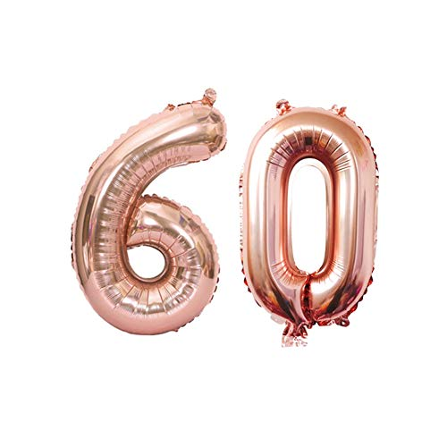 60th Rose Gold Number Balloons Birthday Decorations for Women, 60 Birthday Party Supplies Happy Birthday Balloons Aluminum Balloons Reusable Pink Cute Old Birthday Decorations (60th, Set - Number Birthday 60th Party