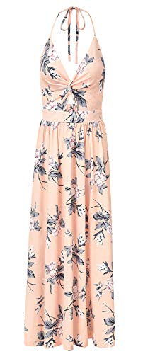 Sleeveless Deep V Neck Twisted Cut Out Front Tie Back Pleated Highwaist Floral Chiffon Long Maxi A-Line Dress Pink M ()