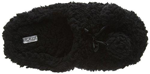 Spot On Pom Pom Fluffy Mule - pantuflas con forro cálido de sintético mujer negro - negro