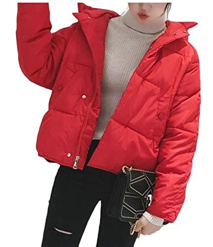 Rosse Colletto Tasche Invernale Casuale Outwear Coreana Sottile Alla Piumino Solido Donne Con Eku xgqf44