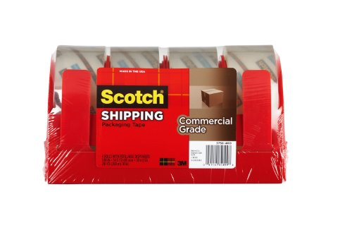 Scotch Commercial Grade Shipping Packaging Tape, 1.88 in x 54.6 yd, 4 Rolls with 4 Refillable Dispensers, Clear (3750-4RD)