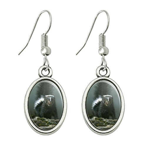 GRAPHICS & MORE Curious Skunk Novelty Dangling Drop Oval Charm Earrings ()