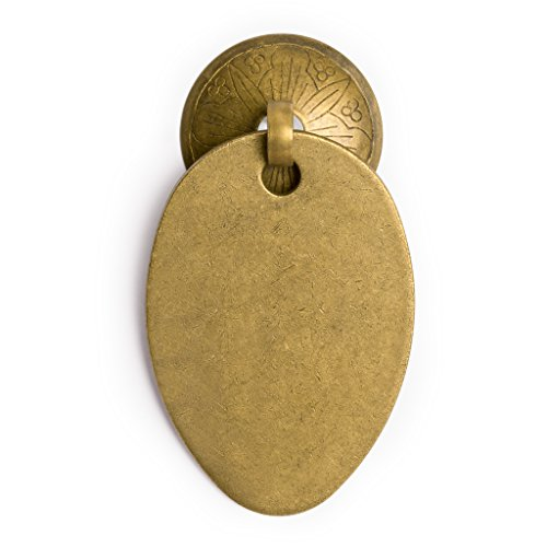 CBH Oval Pulls with Engraved Round Backplate Brass Drawer Pull 2.6