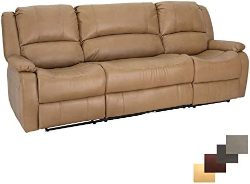 Charles Ashton Home Collection 80 Triple Recliner Sofa Drop Down Console Space Saving Design for Apartment Living Classic Style Perfect for a Tiny Home or Dorm Modular Toffee