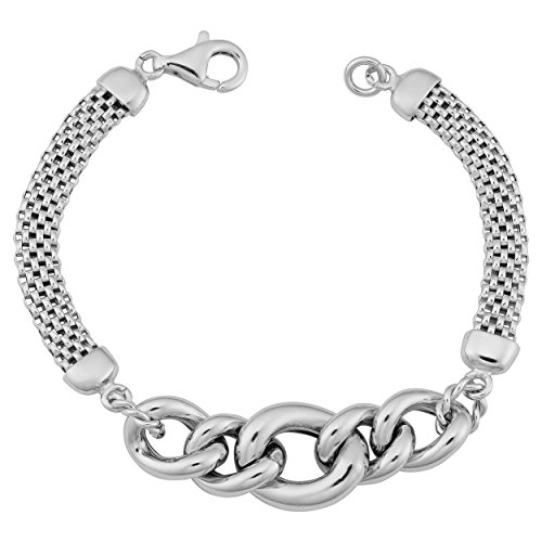 Curb Link Graduated (Sterling Silver Graduated Curb Link Mesh Bracelet (7.25 inch))