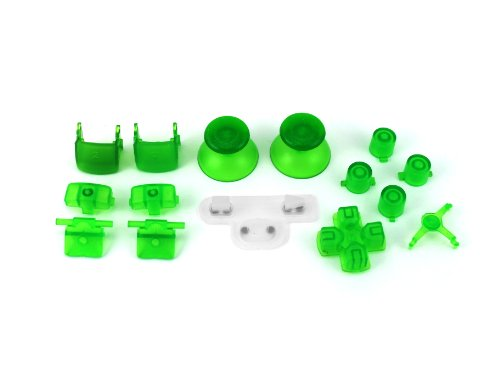 PS3 Transparent Green Full Parts Set (Thumbsticks, Buttons, D-pad, Triggers, Start/Select) for Playstation 3 Controller