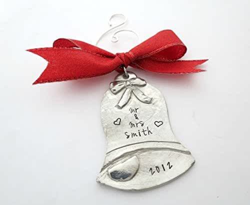 Amazon.com: Personalized Silver Bell Christmas Ornament ...