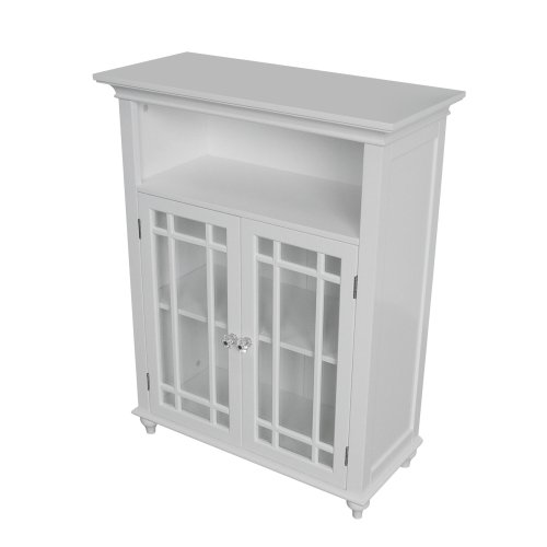 Double Door Floor Cabinet (Elegant Home Fashions Neal Collection Shelved Double-Door Floor Cabinet with Latticed Window Panels, White)