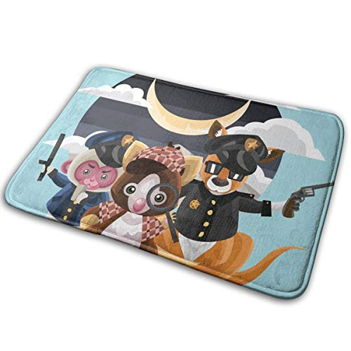 FunnyCustom Doormat Animals Wearing Police Uniforms Personalized Non Slip Water Absorption Entrance Mats for Bathroom -