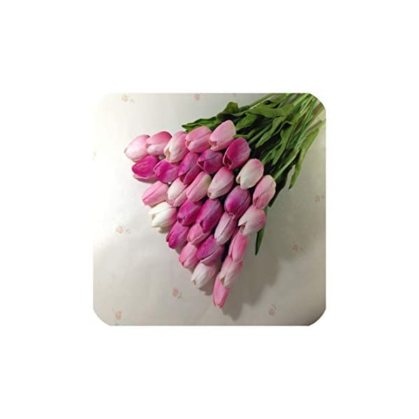 31Pcs/Lot Pu Mini Tulip Flower Real Touch Wedding Flower Bouquet Artificial Silk Flowers for Home Party Decoration,Mix Pink