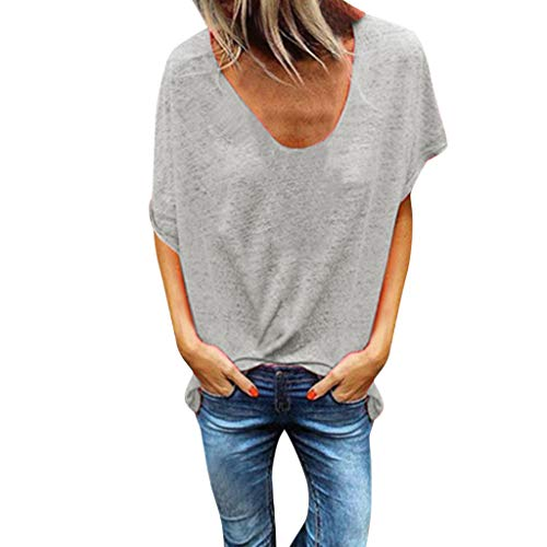 Tantisy ♣↭♣ Woman Pure Color Top V-Neck Short Sleeves T-Shirt Lady Plus Size Tunics Shirt Blouses Tops/S-5XL Gray