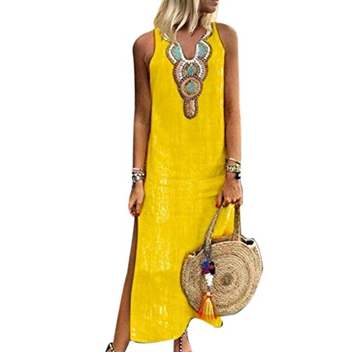 memorytime Women Dresses, Paisley Print V Neck Sleeveless Summer Loose Split Linen Kaftan Maxi Dress Yellow XXL