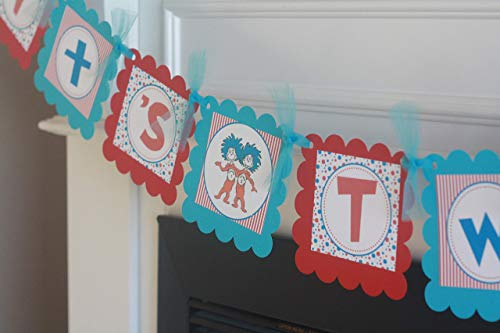 Red Blue Turquoise Blue Stripe Thing 1 & 2 Seuss Dot