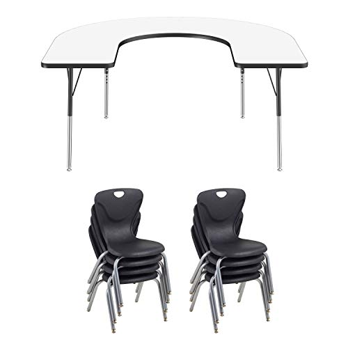 FDP Horseshoe Dry-Erase Whiteboard Activity School and Office Table (60 x 66 inch), Standard Legs with Swivel Glide and Eight 16 inch Contour Chairs ()