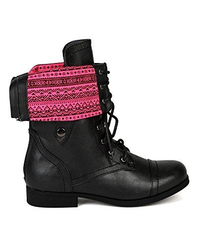 Støtfanger Bc86 Kvinner Leather Neon Tribal Cuff Militære Snøre På Boot - Svart