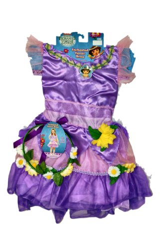 Dora the Explorer Enchanted Forest Adventures Dress Costume with Bonus Headband (Dora The Explorer Costumes)