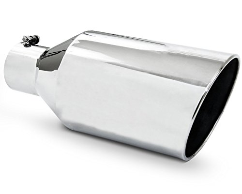 Diesel Exhaust Tip W70015-500-BOSS-RS 5.00 Inch Inlet 7.00 Inch Dia 15.00 In Long Rolled Slant Bolt On Stainless Steel Mirror Polished Wesdon Exhaust Tip