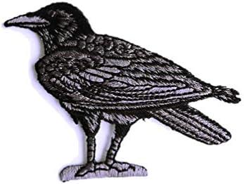 アイロンワッペン【カラス 烏 Crow】アメリカ 刺繍 アップリケ 中