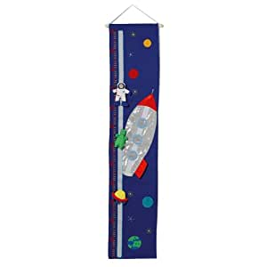Handmade Material Boys Spaceship Theme Height Chart With Removeable Characters For Fun Play. Ideal Nursery Decoration. by Oskar & Ellen