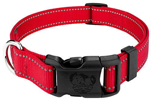 Country Brook Petz | Deluxe Red Reflective Nylon Dog Collar - Extra Large