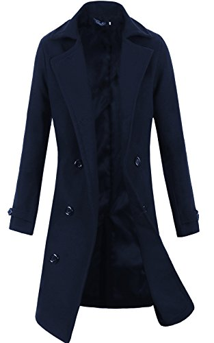 Lende Men's Trench Coat Winter Long Jacket Double Breasted Overcoat (XL, Navy)