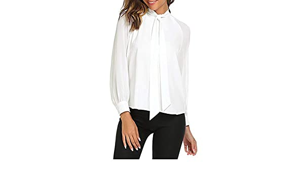 ZHJA 2019 Corbata De Lazo De Verano para Mujer Camisa Blanca ...