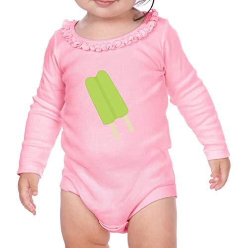 Green Ice Cream #2 Long Sleeve Scoop Neck Girl Sunflower Cotton Baby Ruffle Bodysuit - Soft Pink, 24 ()