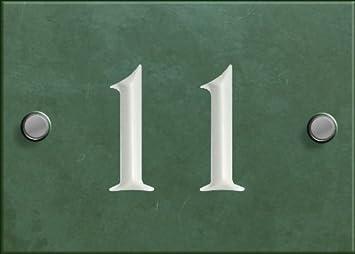Números de casa en teja verde, del 1 al 99 (personalizable), verde, Number 11