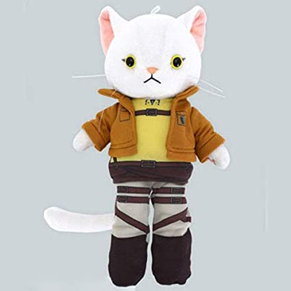 Eren Version Attack on Titan Nya-Colle White Plush Cat Figure with Costume