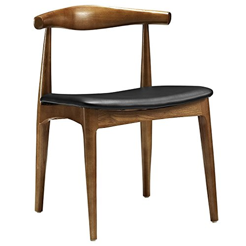 Hans Wegner Style Elbow Dining Chair, Black Faux Leather/Ash Wood Frame in Walnut Stain Dining Side Chair with Black PU Seat Cushion Walnut Finish-Set of 1