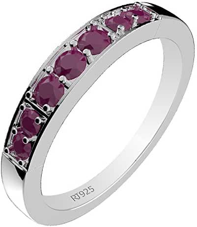 0.35ctw,Genuine Ruby & Solid .925 Sterling Silver Two Stone Rings