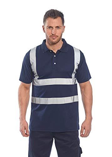 (Portwest Iona Polo Shirt Hi Vis Visibility Reflective Short Sleeve Work Wear Top, Navy, 4XL)