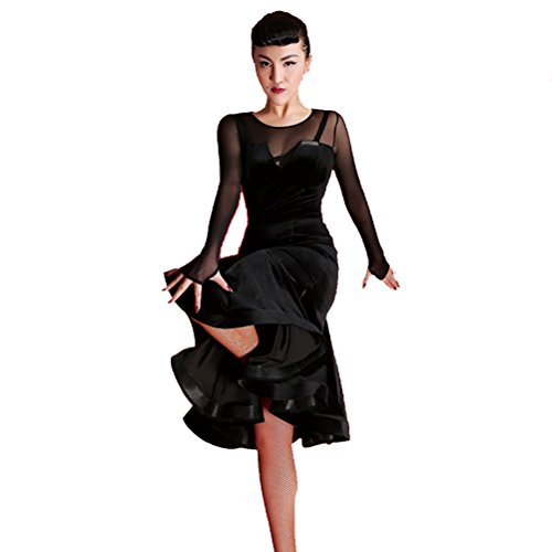 Women Deep V Neck Sexy Package Hip Fish tail skirt Stage Waltz Salsa Costume Flamenco Dancing Wear Ballroom Dress (S, Black)