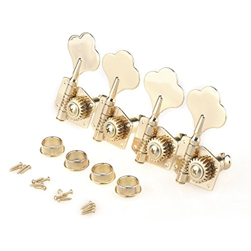 Musiclily Pro 4 in line Open Gear String Machine Heads Tuning Pegs Keys Tuners Set for Precision Jazz Bass Right Hand, Gold