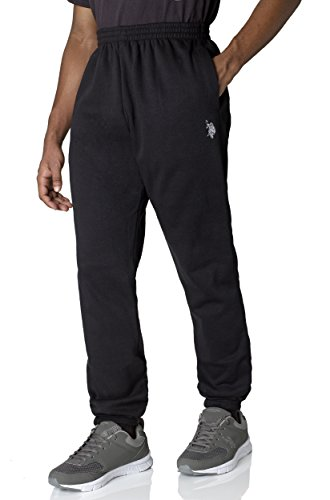 US Polo Assn. Mens Basic Closed Bottom Active Fleece Jogger Sweatpants Jog Pants - Black (Size Small)