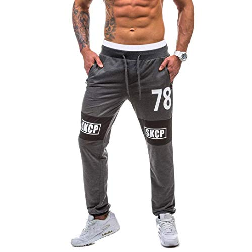 Realdo Hot!Clearance Sale Casual Print Letter Contrast Trousers Sweatpants Elastic Waist Jogger Pants for Men(Large,Dark Gray)