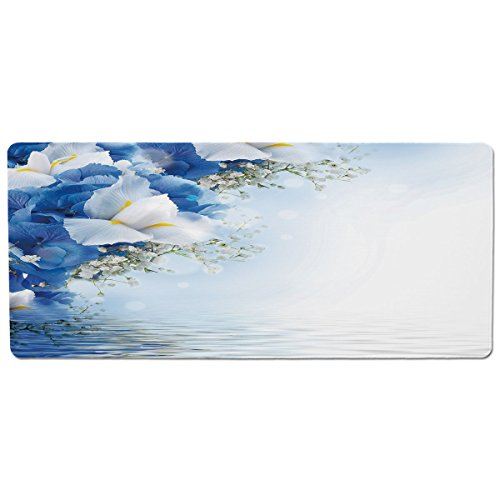 Dreamy Hydrangea (iPrint Pet Mat for Food and Water,Light Blue,Blue Hydrangeas and White Irises over The Sea Romantic Bouquet Dreamy,Blue Light Blue White,Rectangle Non-Slip Rubber Mat for Dogs and Cats)