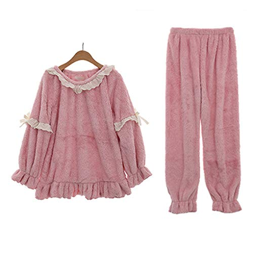 Set Luxury Inverno E Manica Regali Pizzo PJs Loungewear Pantaloni Tops Nightwear Pink Comfort Lunga Warm Dolce Fleece Pajama Ladies Soft wI4IaS