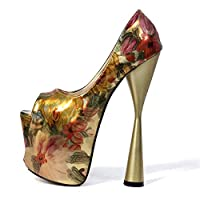Goodtimeshow Ultra high Heel Thick Heel Waterproof Stage Fish Mouth Patent-Leather Printing Women