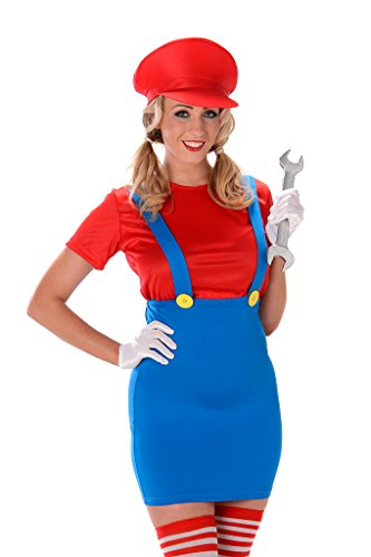 Women's Red Plumber Costume - Halloween (M)