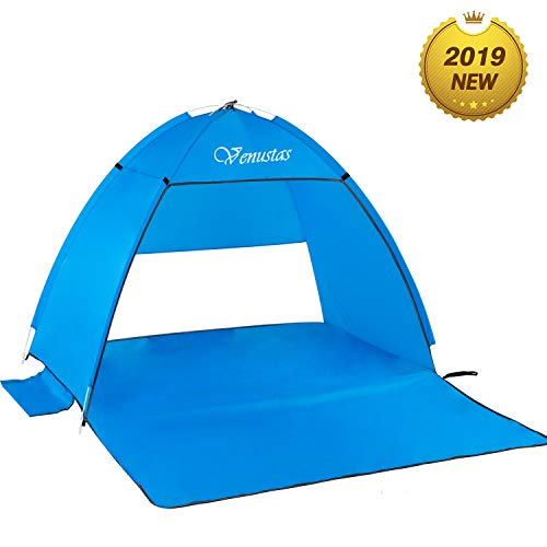 KEUMER Venustas Beach Tent Super Beach Umbrella Outdoor Sun Shelter Cabana Automatic Pop Up UPF 50+ Sun Shade Portable Camping Fishing Hiking Canopy Easy Setup Patent Pending 2 or 3 Person